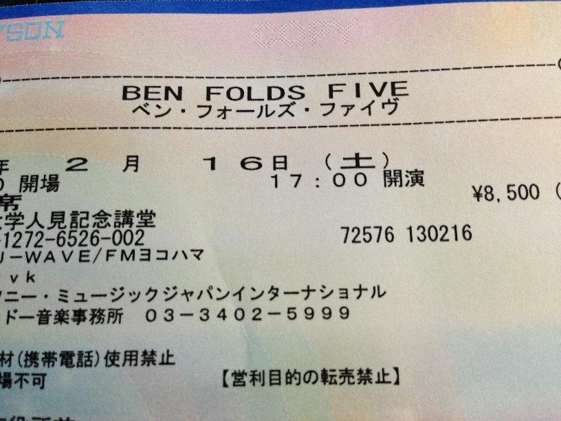 ベン・フォールズ・ファイヴ at 人見記念講堂 2013/2/16 セットリスト