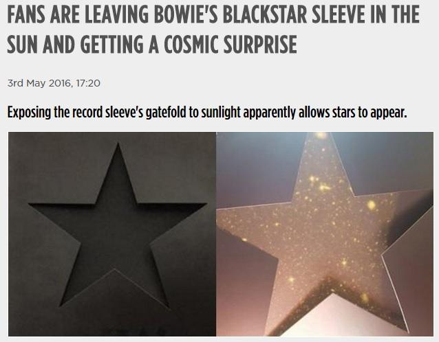 """デヴィッド・ボウイ """"Blackstar"""" のアナログ盤ジャケットを光にあてると・・・の話"""